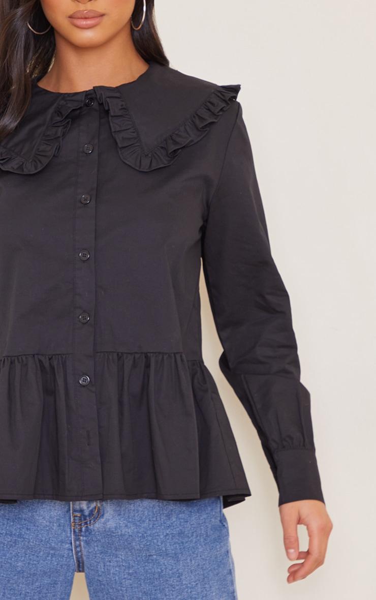 Petite Black Oversized Collar Shirt 4