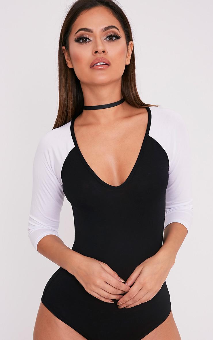 Basic body-string noir à manches contrastées en jersey 1