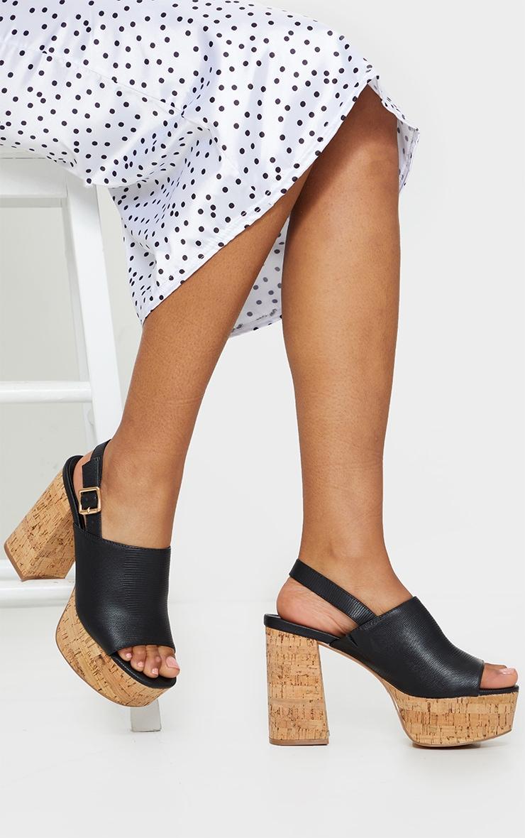 Black Cork Platform Slingback Sandals 2
