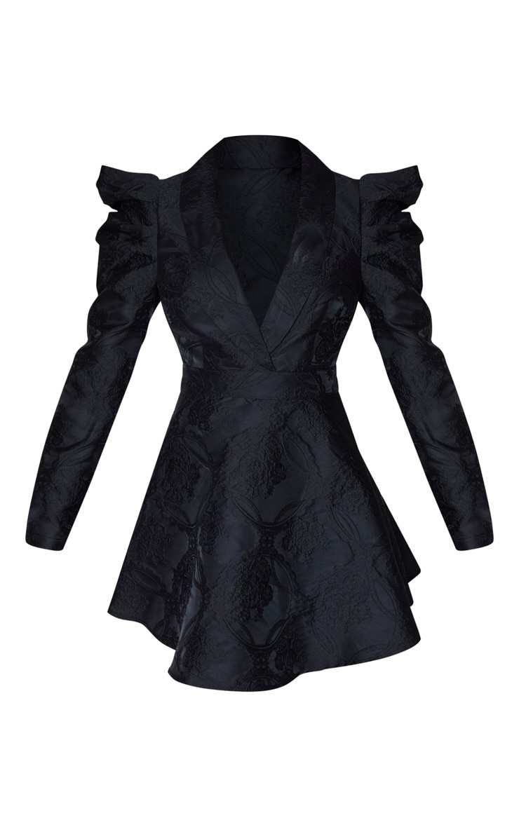 Black Jacquard Puff Sleeve Lapel Detail Skater Dress 3