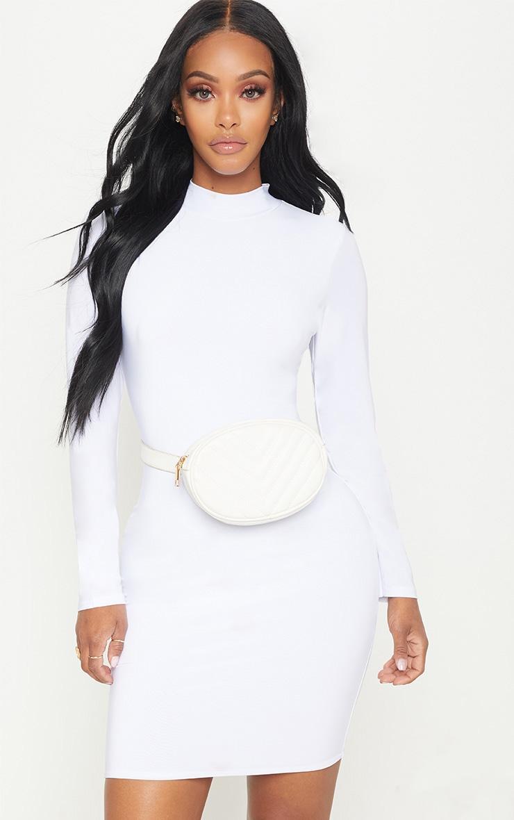 7b921e3d3bf Shape White Slinky High Neck Bodycon Dress image 1