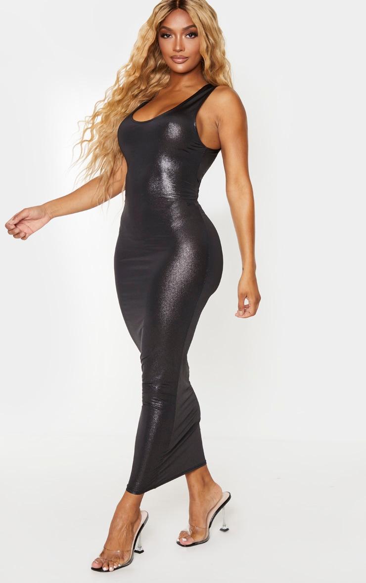 Shape Black Metallic Slinky Scoop Neck Midaxi Dress 3