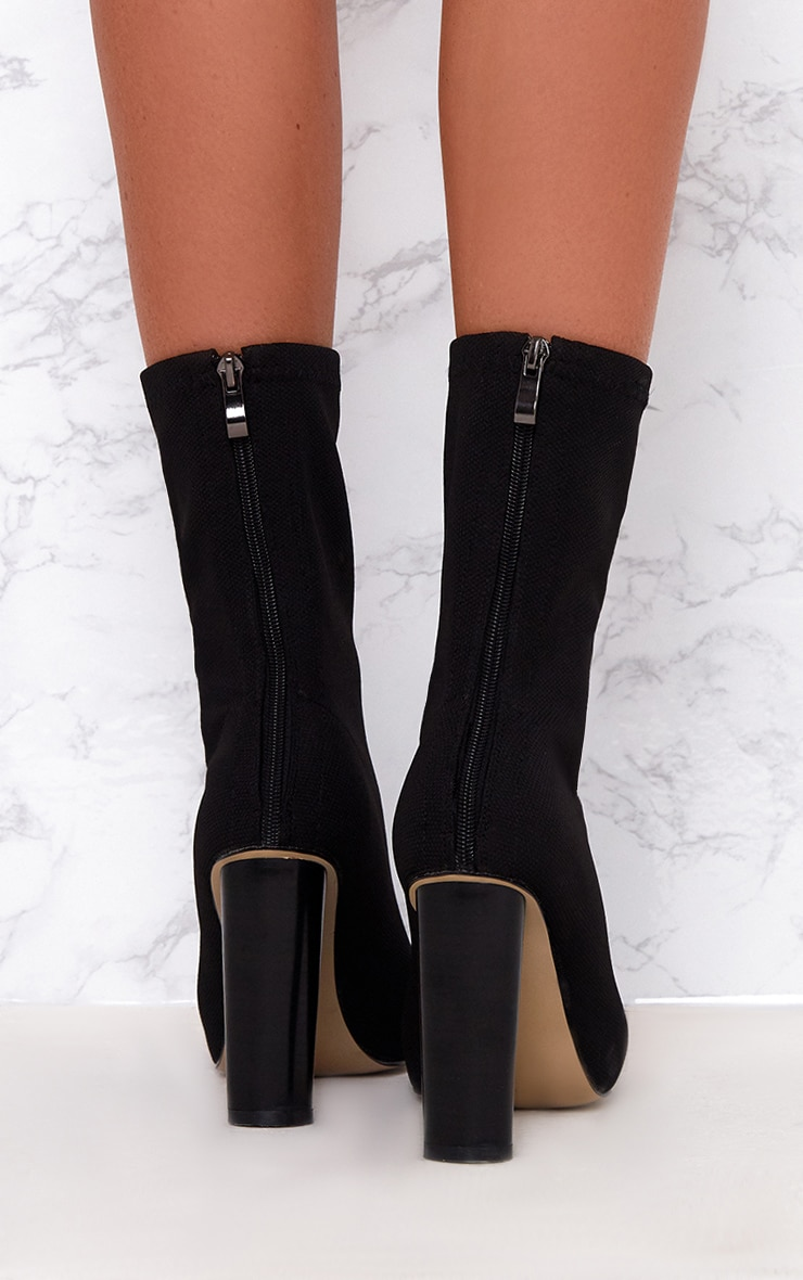 Black Woven Sock Heeled Boots  4