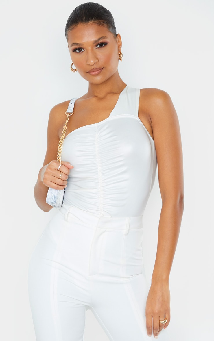 White Wet Look One Shoulder Ruched Bodysuit 1