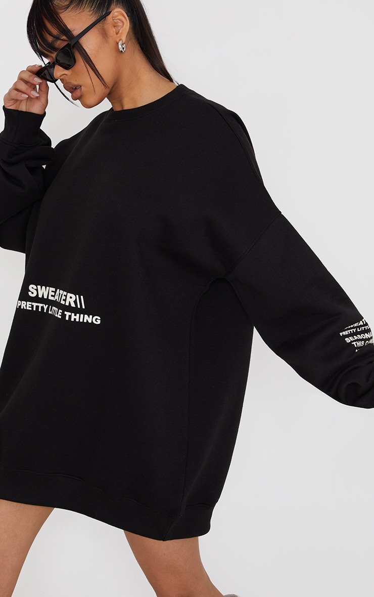 PRETTYLITTLETHING Black Oversized Sweater Jumper Dress 4