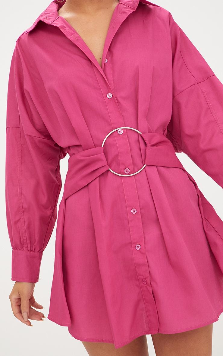 Fuchsia Ring Waist Detail Shirt Dress 5