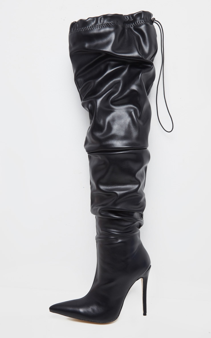Black Thigh High Slouch Point Boot 3