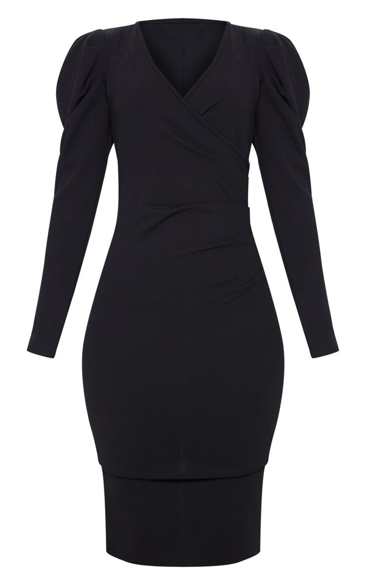 Black Pleated Wrap Long Sleeve Midi Dress 3
