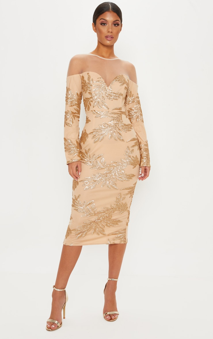 Gold Sequin Mesh Insert Midi Dress 1