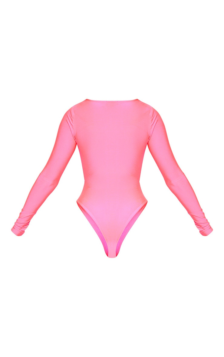 Neon Pink Long Sleeve Underbust Cut Out Swimsuit 4