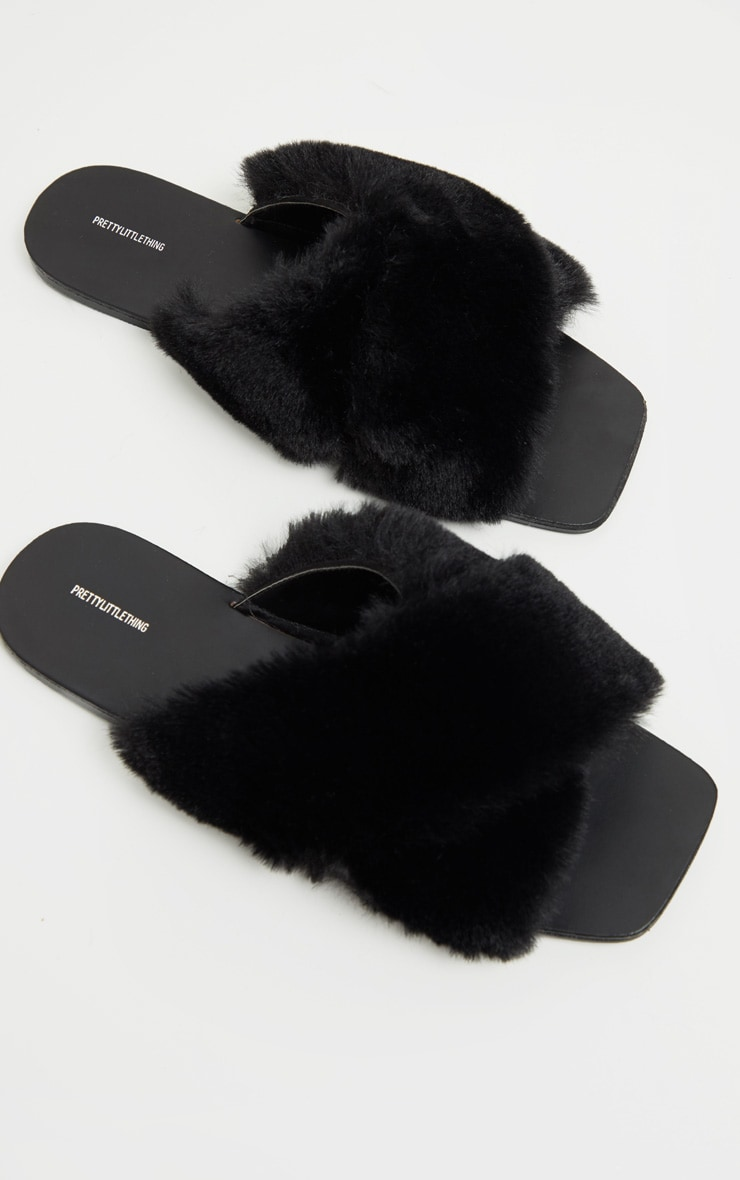 Black Cross Strap Faux Fur Mule Sandal 3