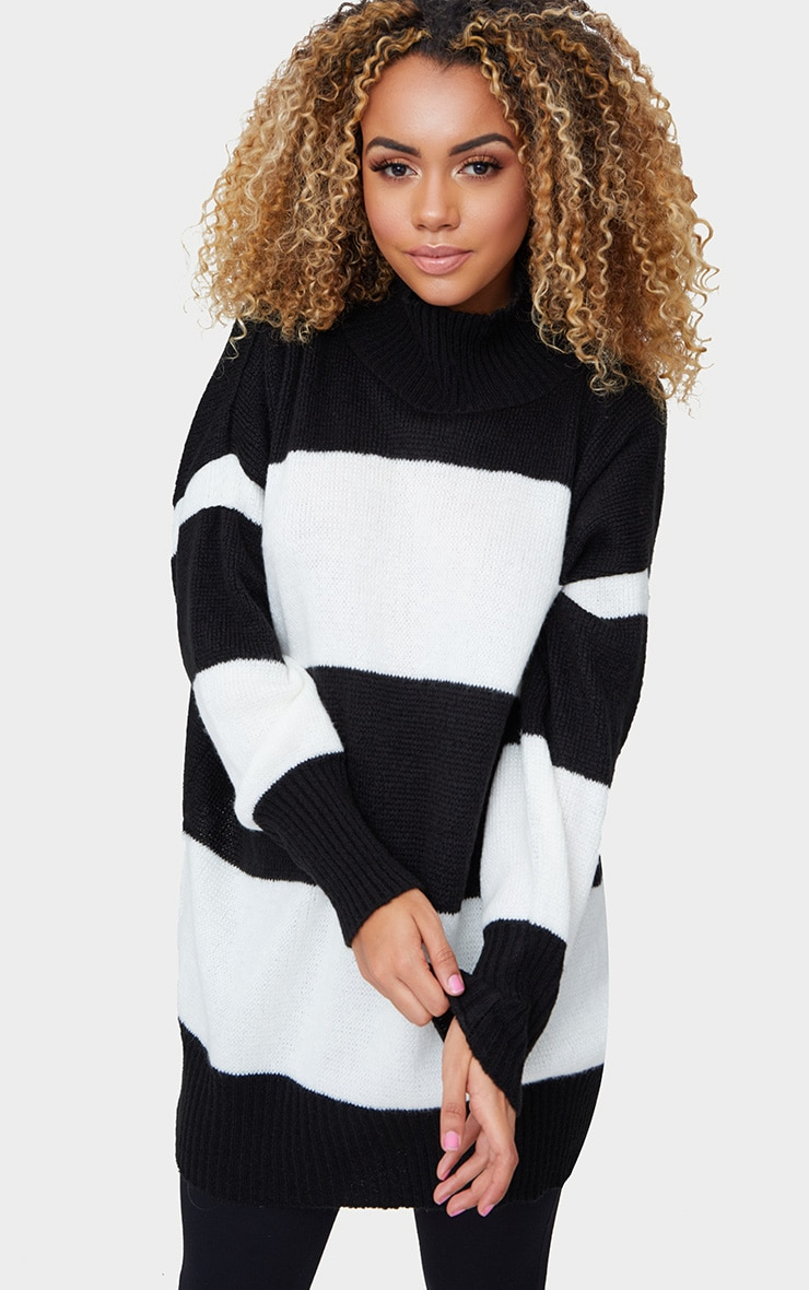 Black Stripe Oversized Knitted Jumper 1