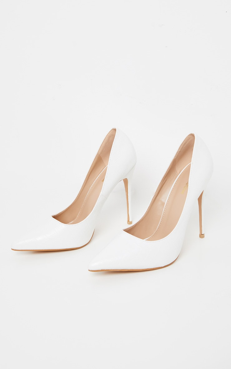 White Croc Court Shoe 3