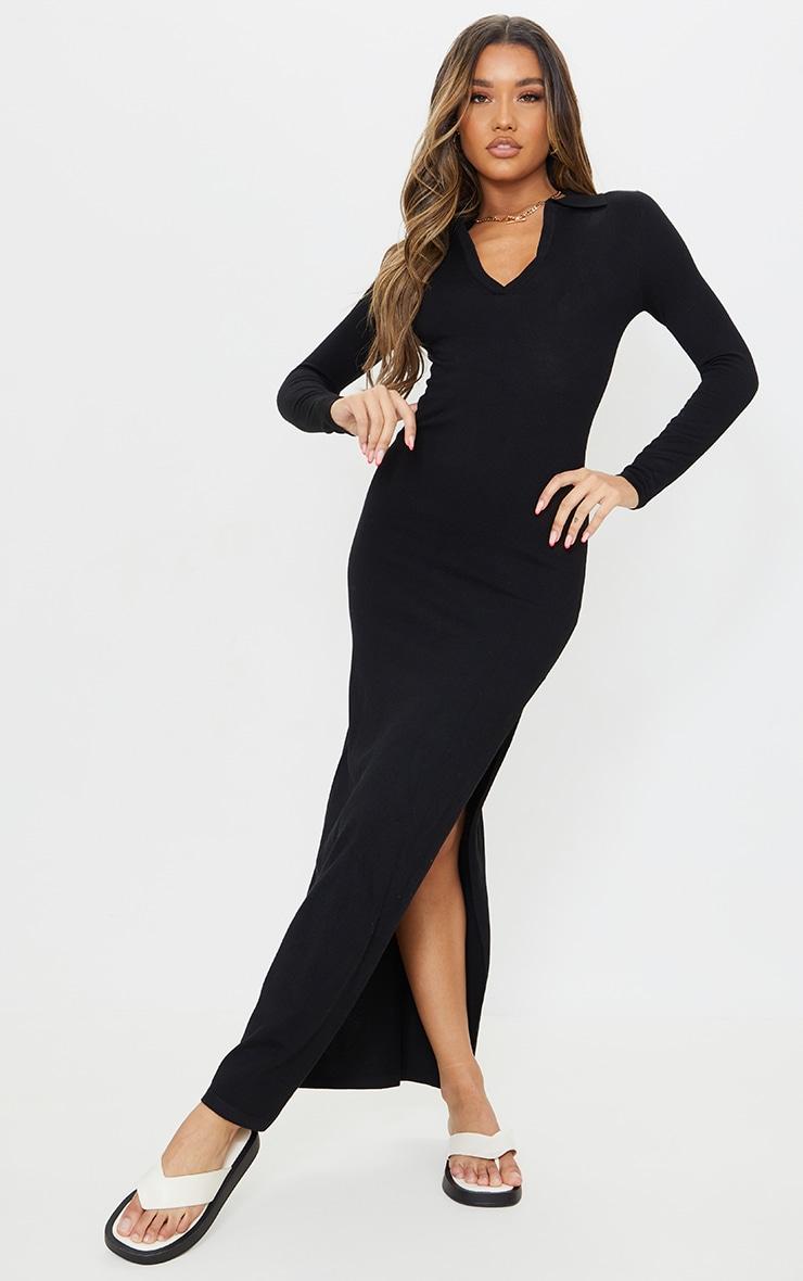 Black Collar Detail Maxi Side Split Knitted Dress 1