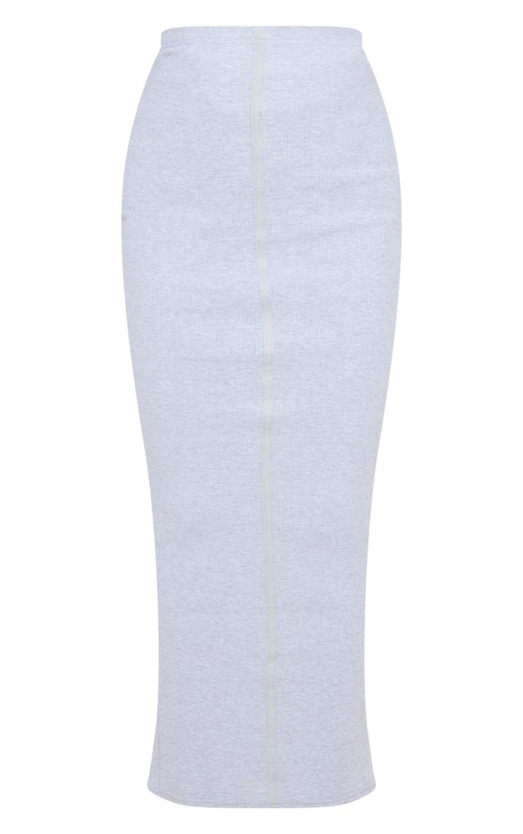 Jupe longue côtelée grise à coutures apparentes 3