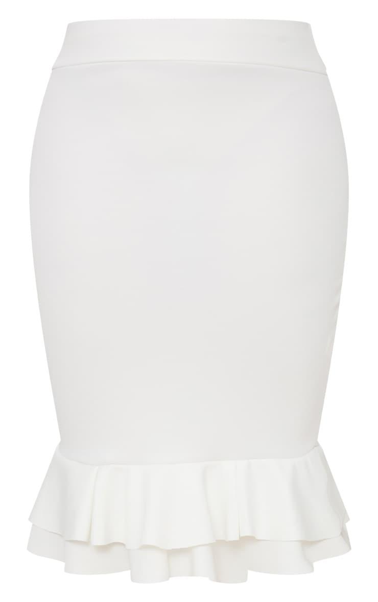 Plus White Frill Hem Midaxi Skirt 3