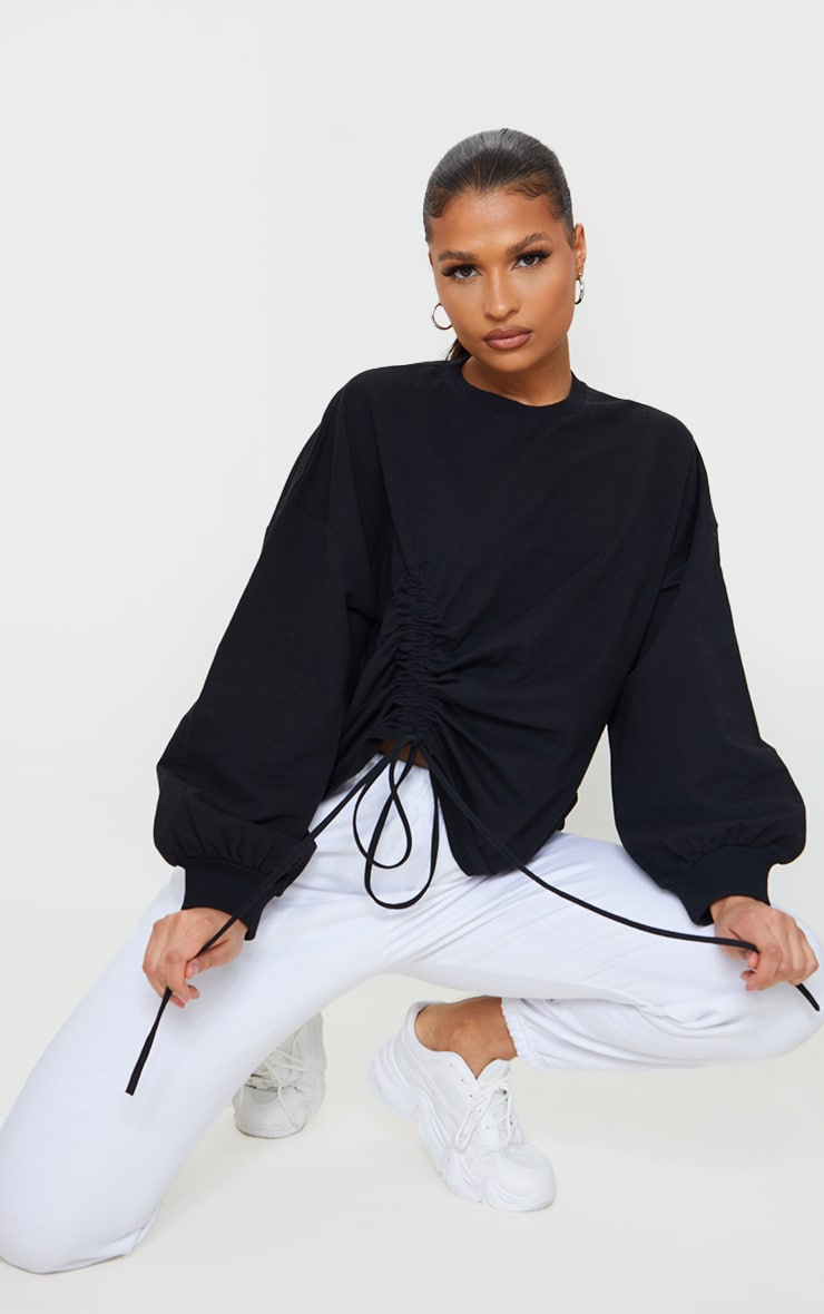 Black Drawstring Ruched Side Sweatshirt 1
