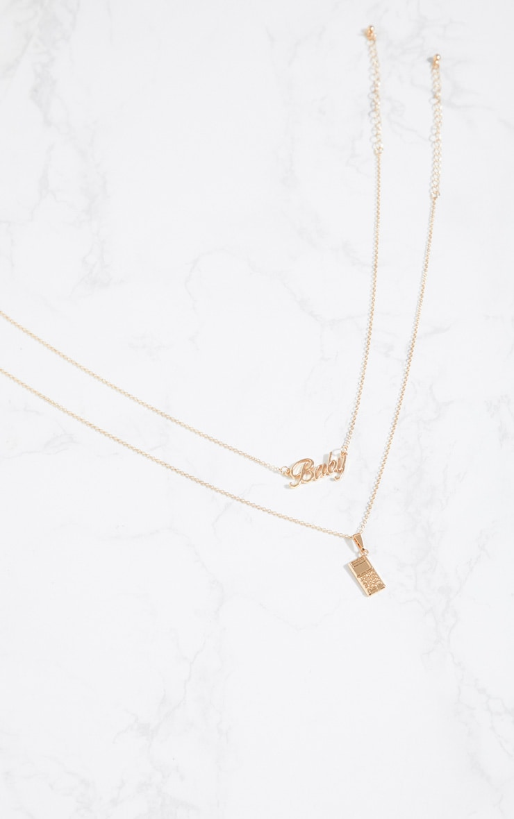 Gold Baby Logo Phone Necklaces 3