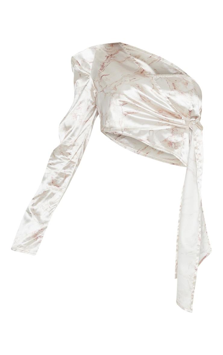 Cream Marble Printed One Shoulder Tie Waist Crop Top 3