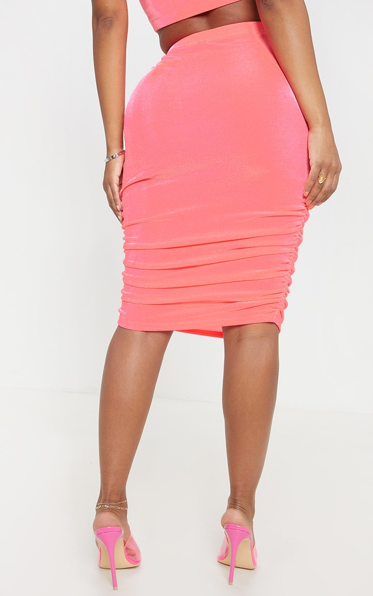 Shape Pink Slinky Neon Ruched Midi Skirt  4
