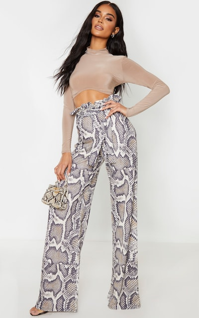 Snake Paperbag Waist Wide Leg Trousers