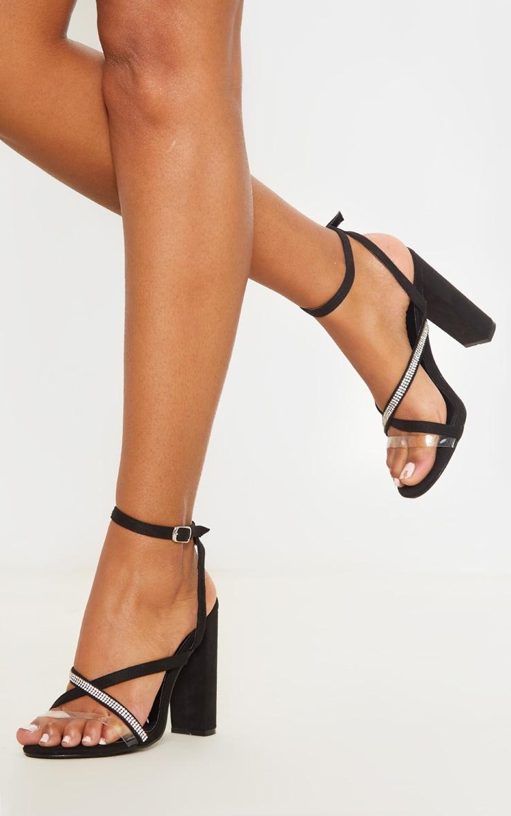 Sandales asymétriques strassées noires à talon bloc 1
