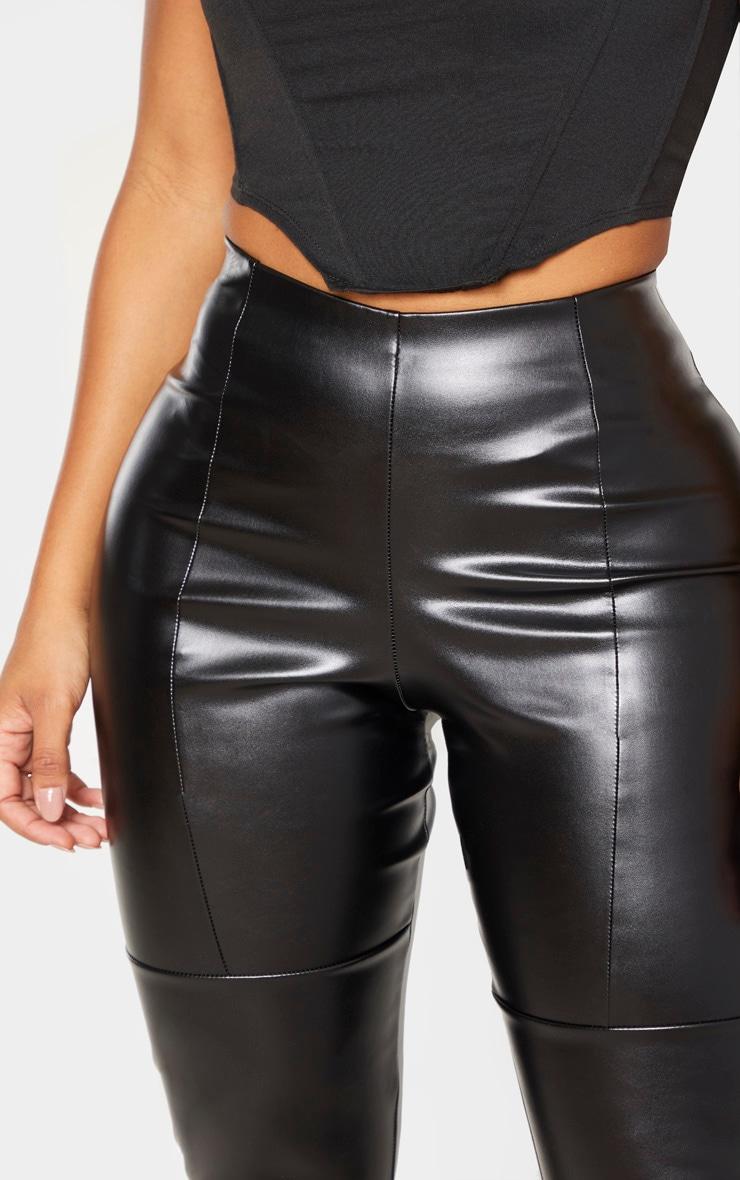 Shape - Pantalon noir en similicuir à parties empiècement  5