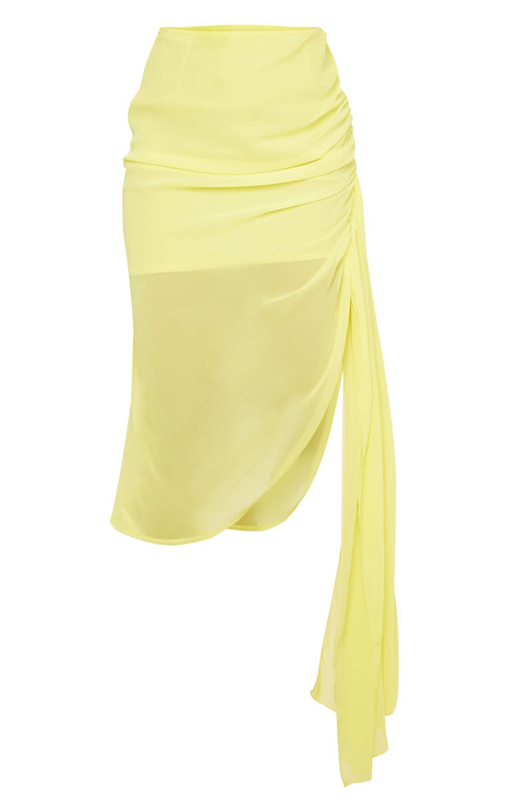 Yellow Woven Ruched Side Panel Midi Skirt 5