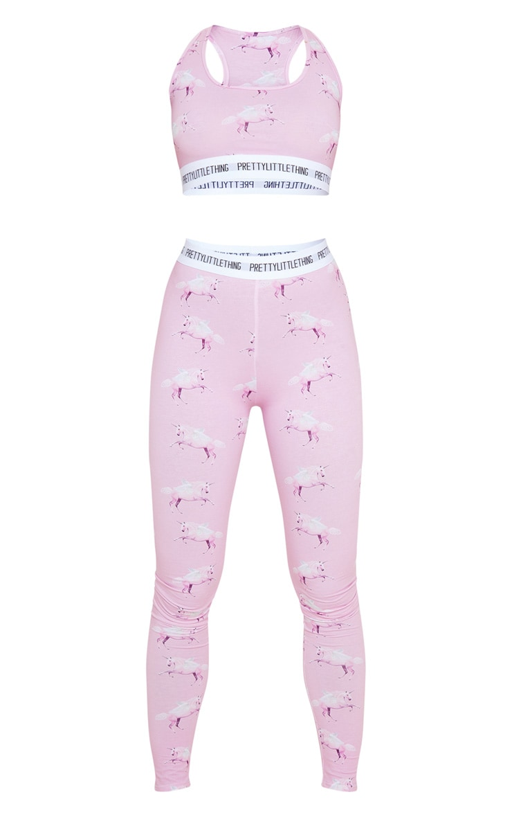 PRETTYLITTLETHING Pink Unicorn Bralet and Legging PJ Set 3