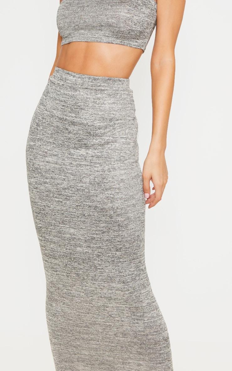 Jupe longue en tricot léger gris pierre 5