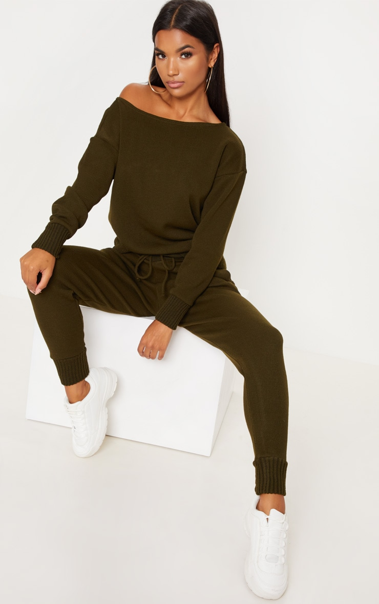 Auriel Khaki Jogger Jumper Knitted Lounge Set 4