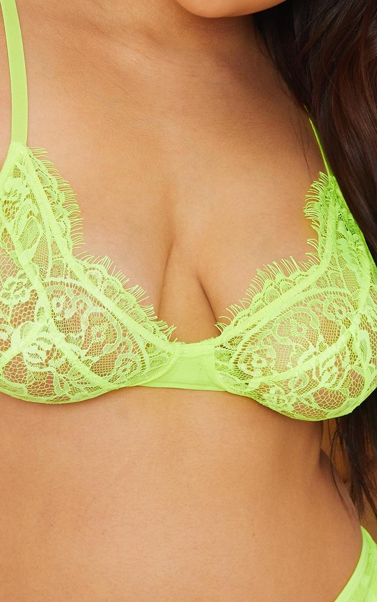Plus Lime Striped Lace Bralette 4