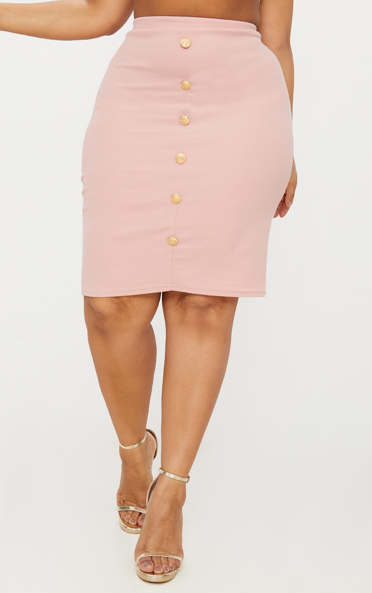 Plus Dusty Pink Military Button Detail Bodycon Skirt 2
