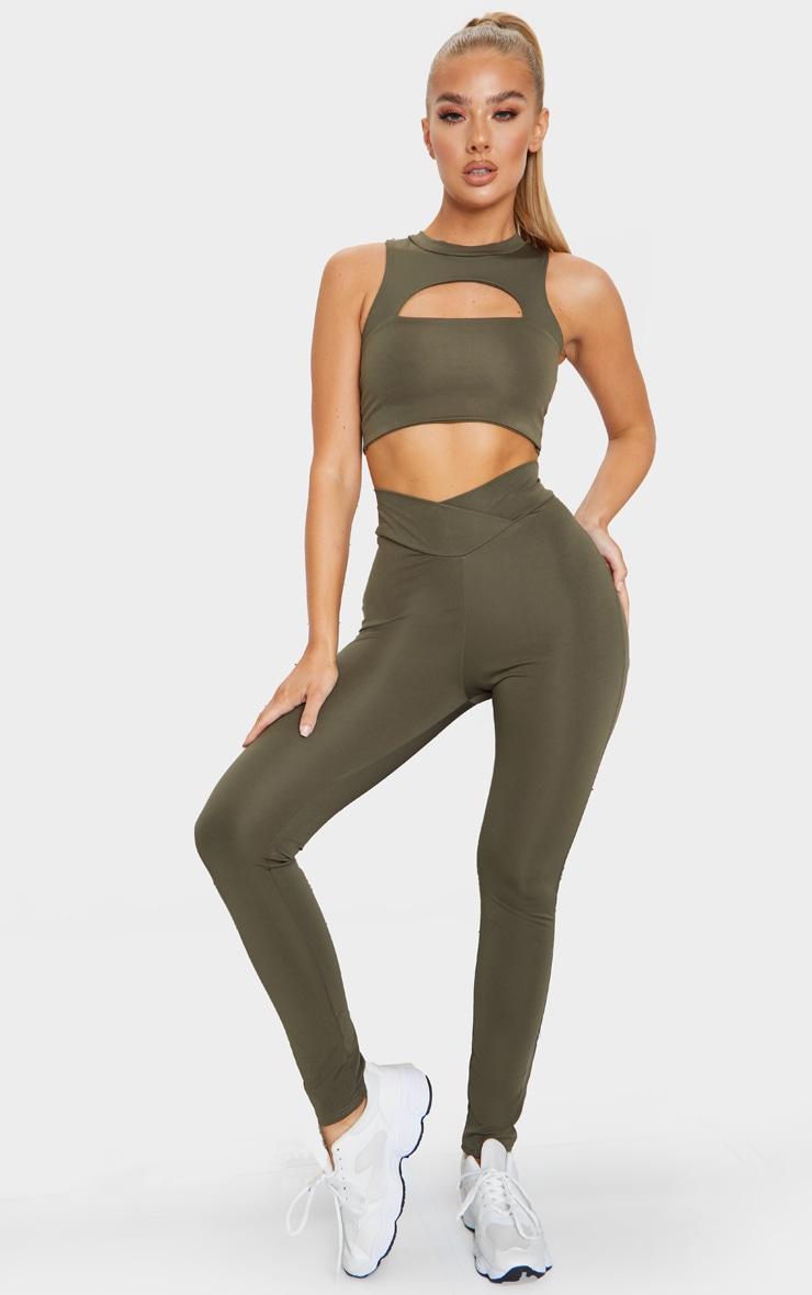 Khaki V Front Gym Leggings 1