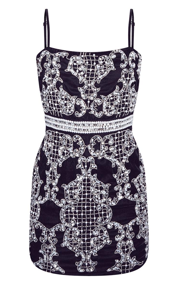 Black Premium Embellished Strappy Bodycon Dress 6