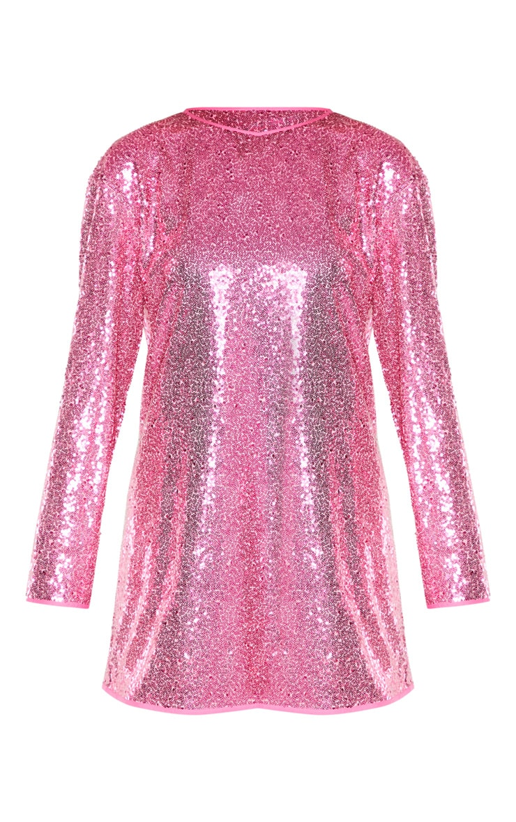 Tall Bright Pink Sequin Long Sleeve Shift Dress 3