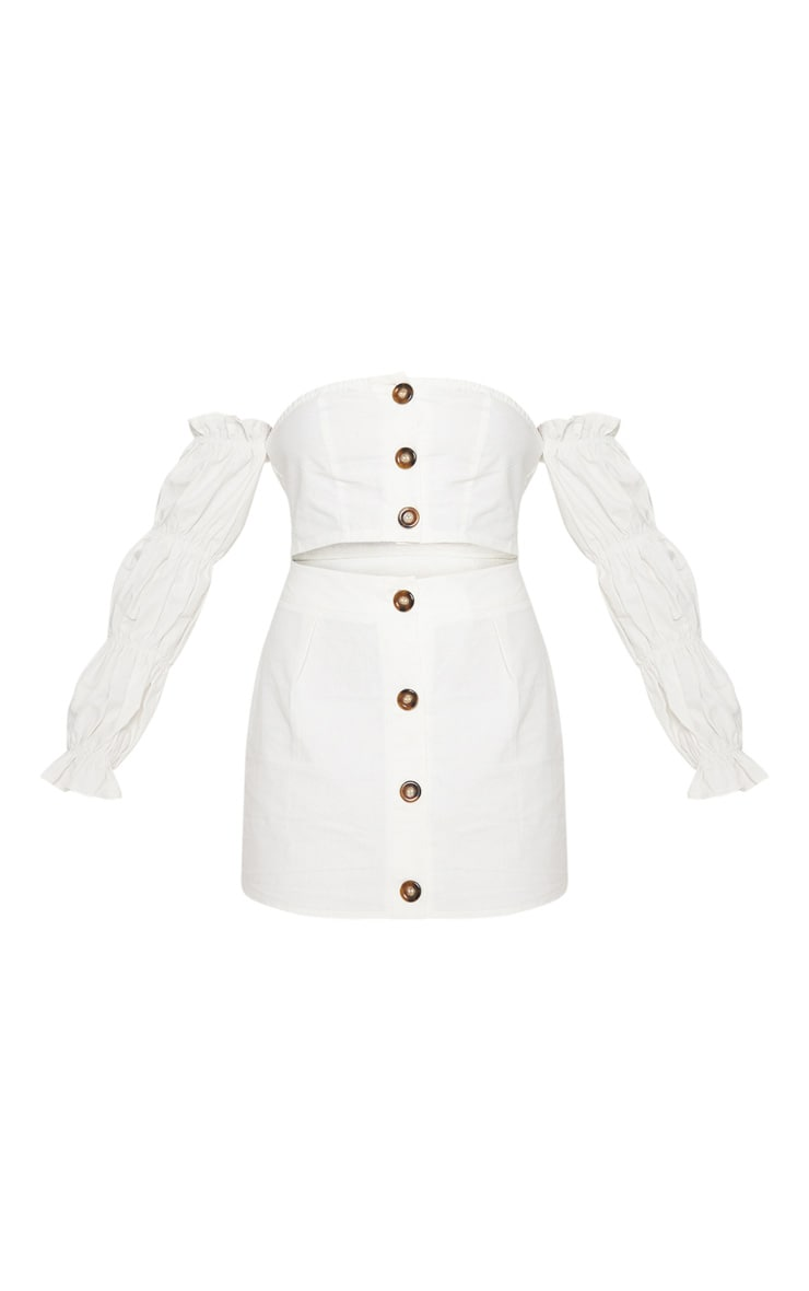 White Cotton Button Detail Puff Sleeve Shirt 3