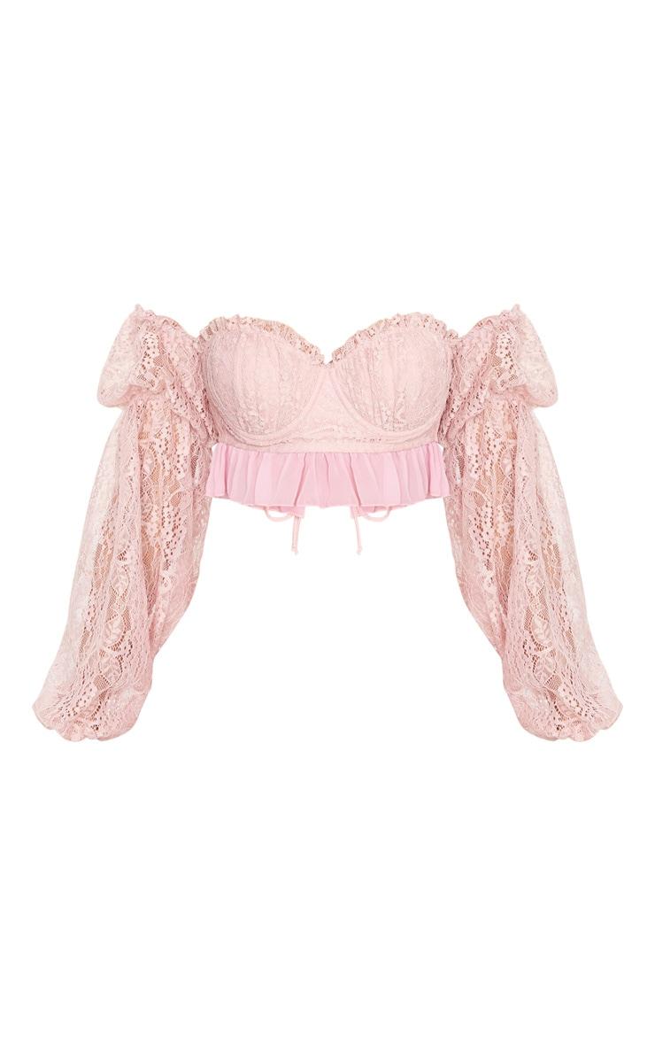 Blush Pink Lace Detail Bardot Long Sleeve Crop Top 4