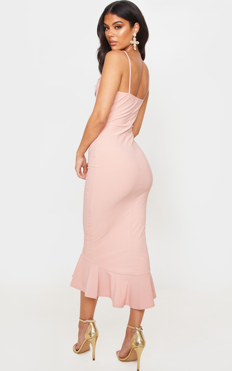 Dusty Pink Crepe Cowl Frill Hem Midi Dress 2