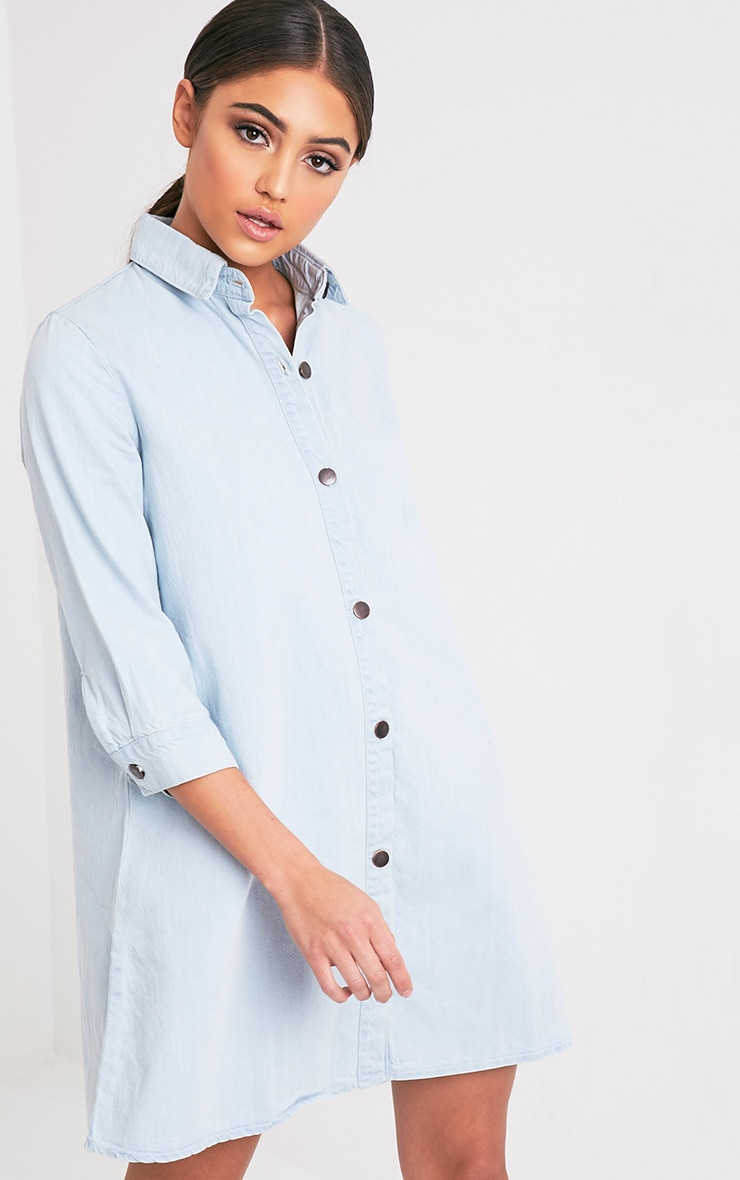 Marriet Super Light Wash Button Through Denim Shirt Dress 1