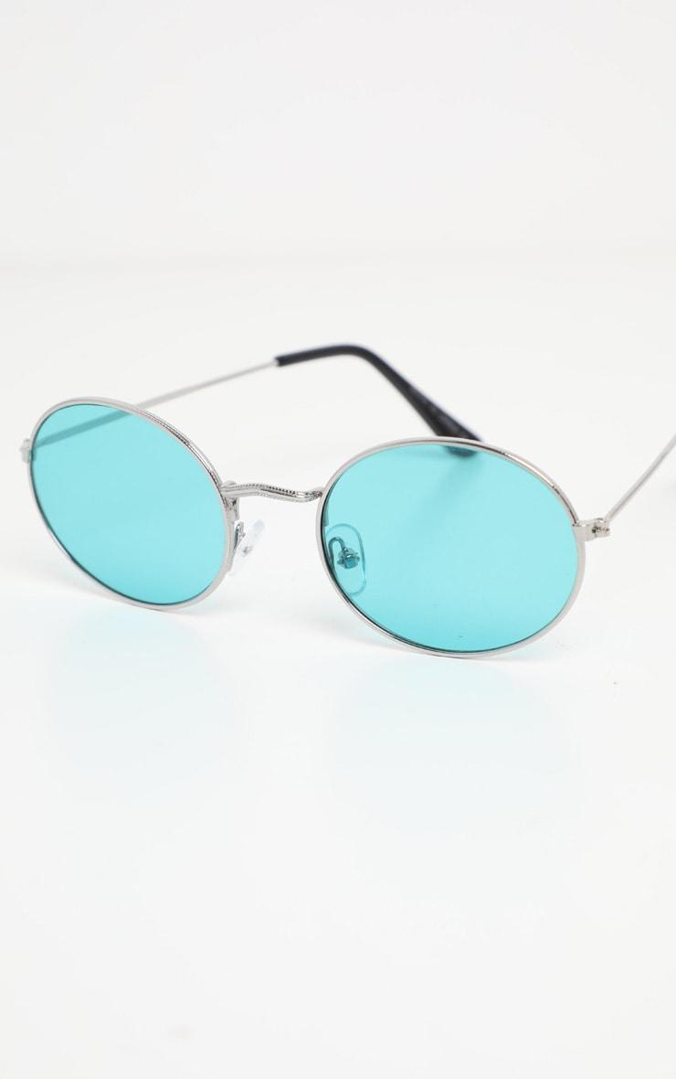 Green Lens Metal Frame Oval Retro Sunglasses 2