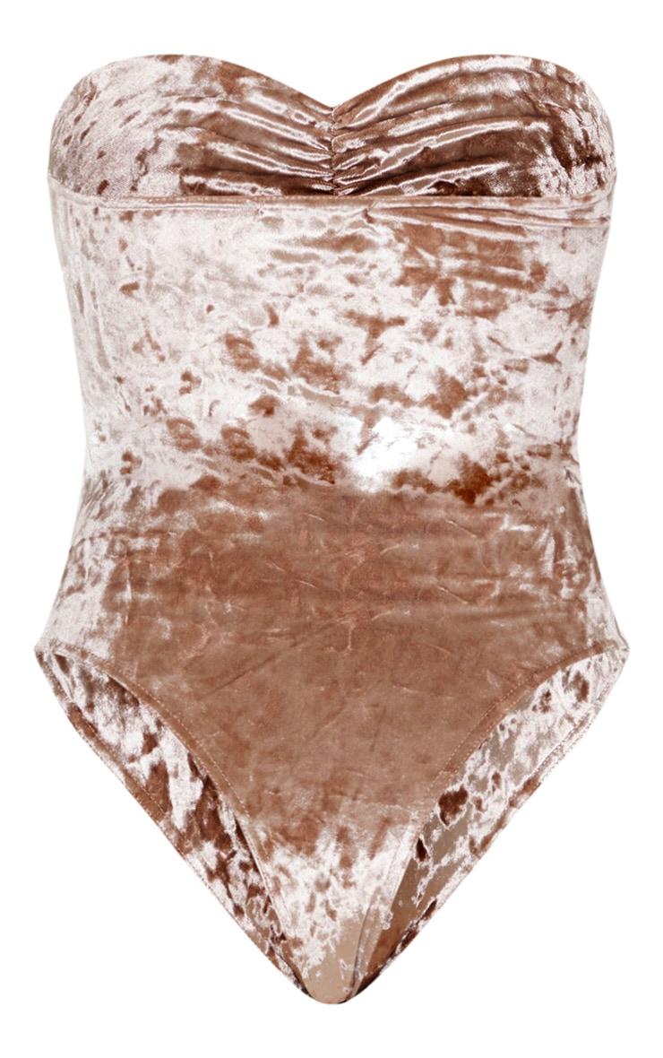 Mocha Velvet Bandeau Ruched Front Bodysuit 6