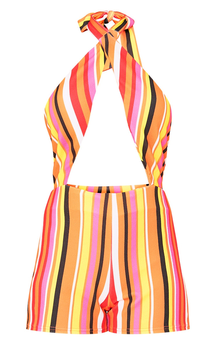 Bright Stripe Halterneck Playsuit  3