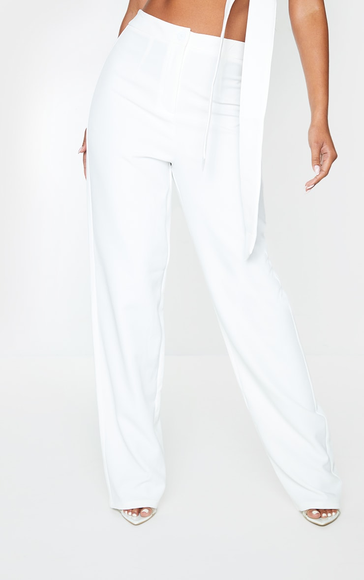White Woven High Waisted Straight Leg Trousers 2