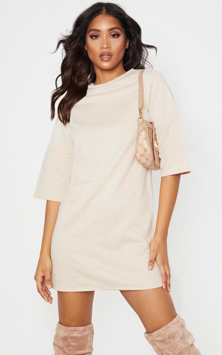 Stone Short Sleeve Sweat Jumper Dress 1
