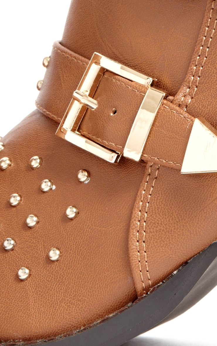 India Tan Stud Buckle Boots 4