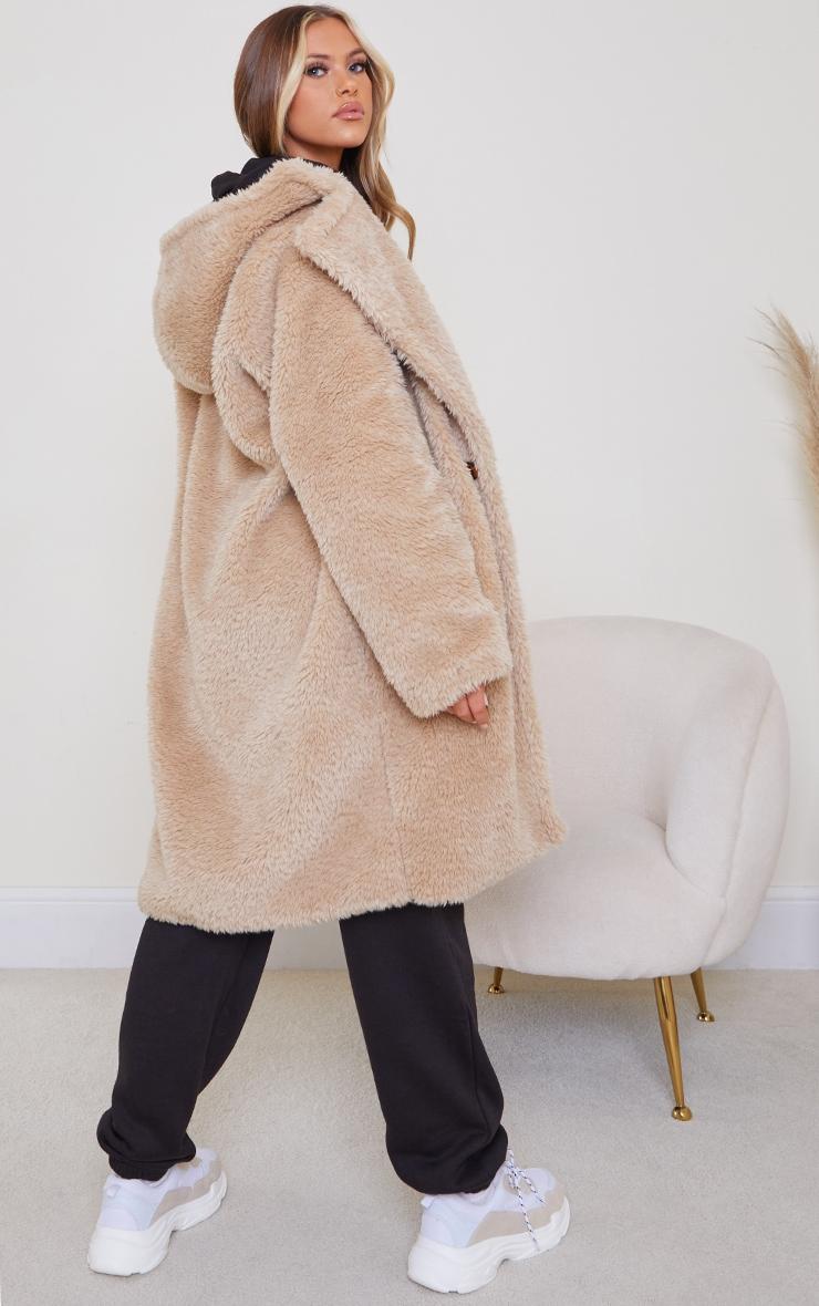 Camel Teddy Faux Fur Hooded Coat 2
