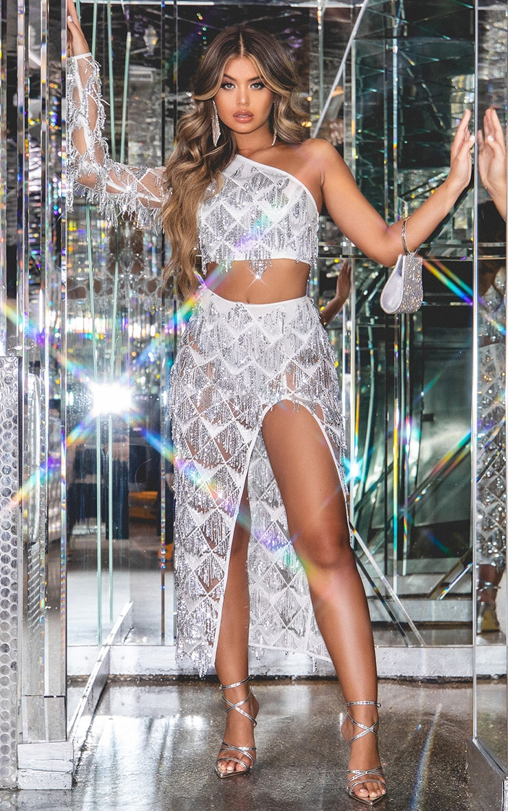 Silver Tassel Sequin Extreme Split Midaxi Skirt 1