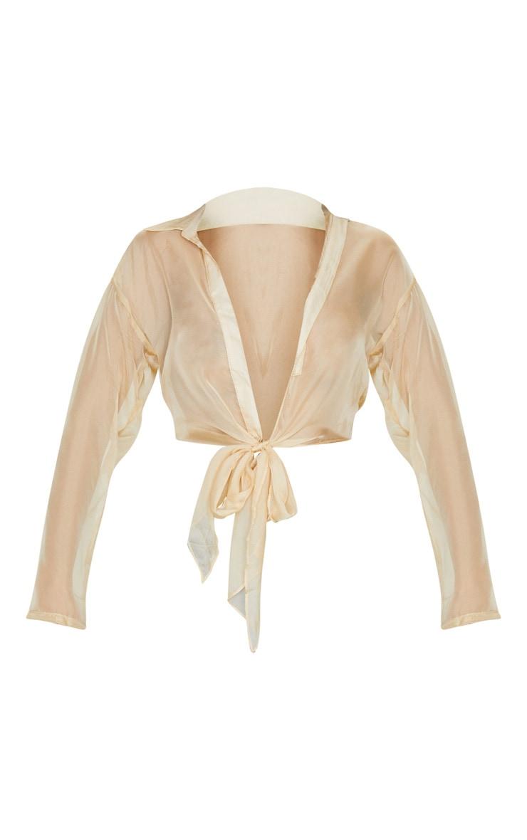 Nude Organza Sheer Tie Front Blouse 5