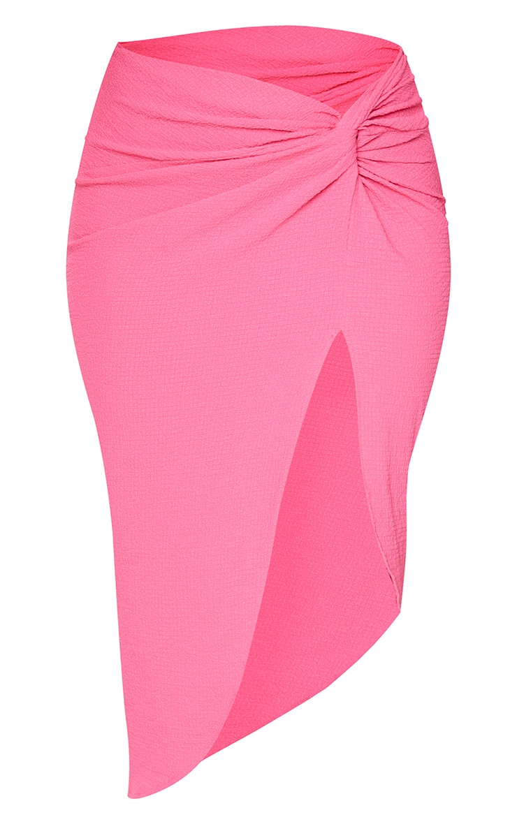 Pink Textured Knot Front Midi Skirt 5